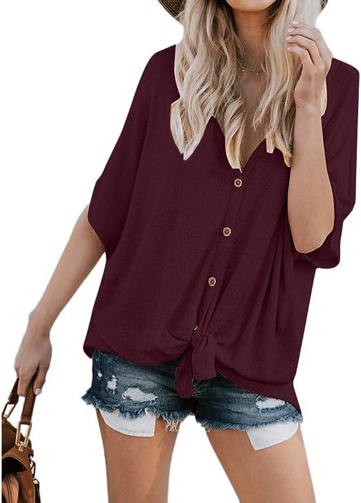 ruiruiNIE Blusa de túnica para Mujer Camiseta de Manga Corta Camiseta con Nudo Anudado Botón con Cuello en v Tapas Delanteras con Botones - Rojo Vino - XL: Amazon.es: Hogar