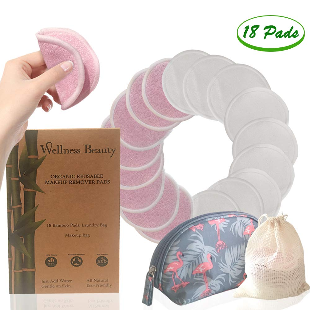 Wellness Beauty Organic Reusable Bamboo Makeup Remover Pads 18 Pack Pink and White Complete with Bonus Flamingo Makeup Bag