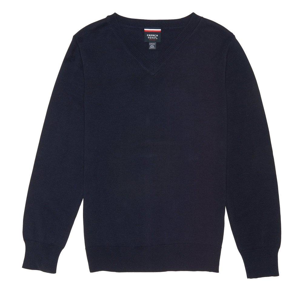 French Toast Big Boys' Fine Gauge V-Neck Sweater, Navy, M (8) by French Toast (Image #1)