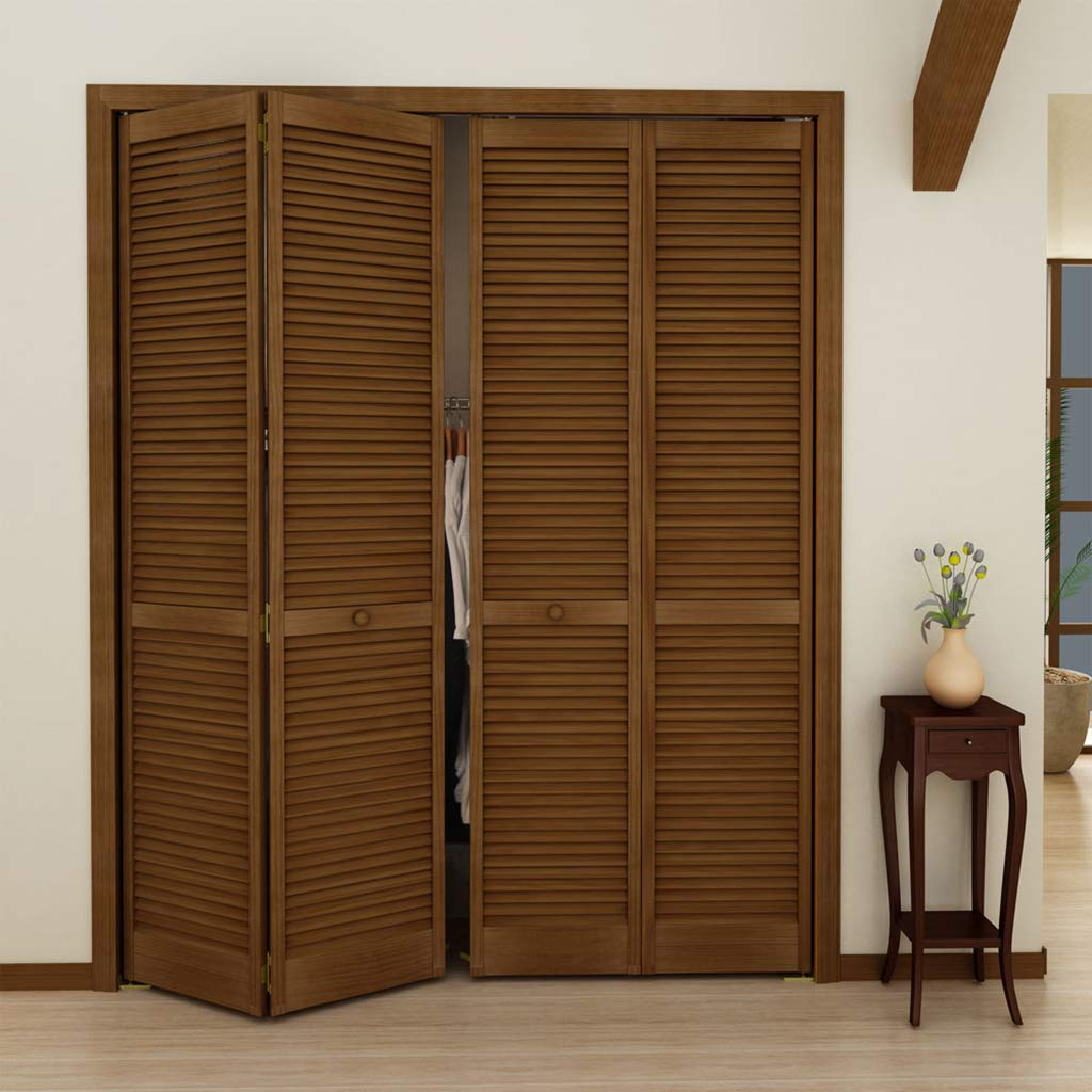 80x36 Kimberly Bay Traditional Louver Louver Espresso Solid Core Wood Bi-fold Door