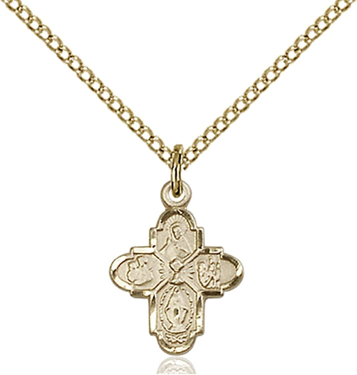 14K Gold Filled First Communion 4-Way Medal with Chalice Center, 1/2 Inch