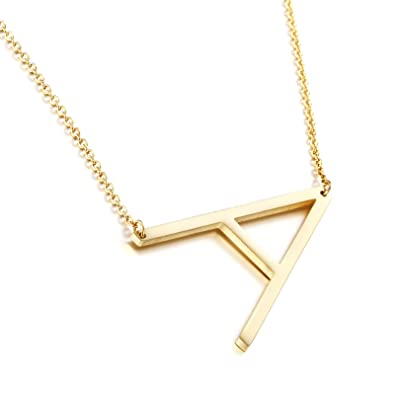 38d602a84a050 Amazon.com  Birthday Gifts for Her Big Letter Necklace 18K Gold ...