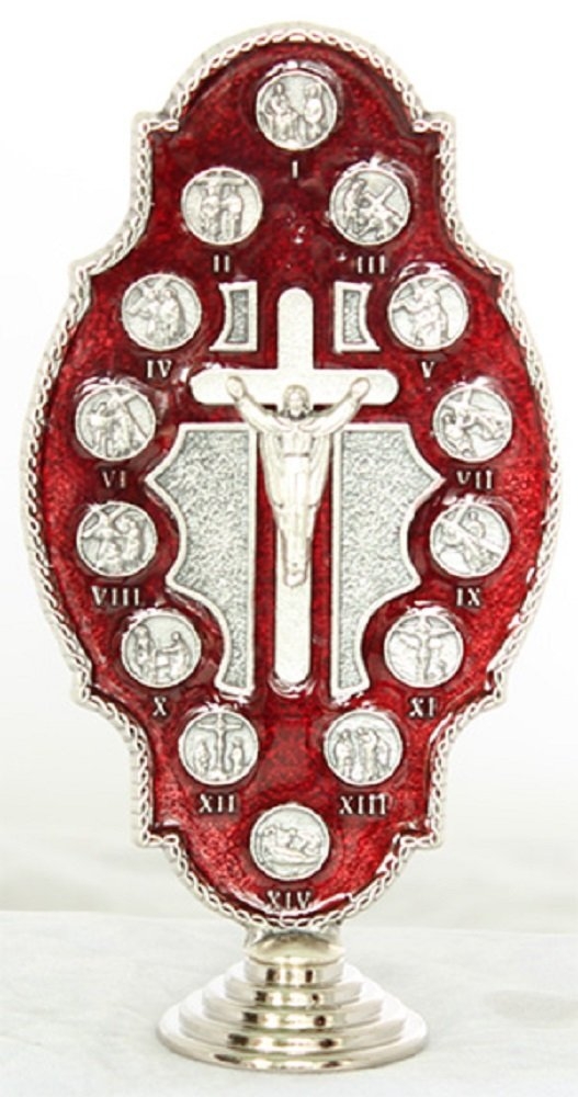 Red Stations of the Cross,metal, 5 inches. Made in Italy.