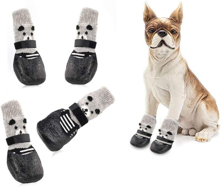 Toulifly Calcetines para Perros,Botas para Perros,Calcetines para Perros,Dog Socks,Calcetines Antideslizantes para Mascotas,para Control de Tracción,Ajuste para Perros Pequeños,Impermeables(M)