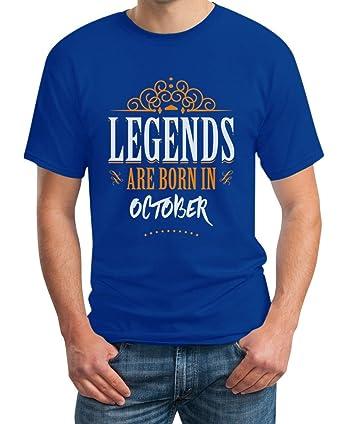 Legends are born in Oktober - Geschenke T-Shirt Small Blau