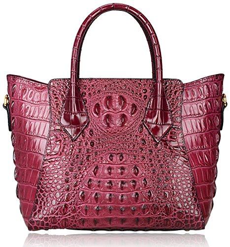 Pijushi Embossed Crocodile Purse Genuine Leather Satchel Handbags Office Padlock Bag (Purple)