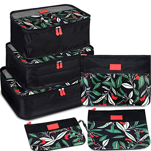 VAGREEZ Packing Cubes 6 Set Ultralight Travel Luggage Organizers with Heavy-duty Zippers for Carry on Backpack and Suitcase
