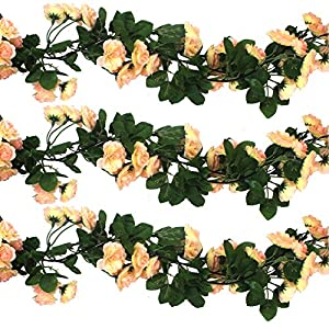 3pcs Artificial Rose Garlands Silk Fake Flowers Green Leaves Vine for Wedding Home Garden Party Decoration Backdrops 54