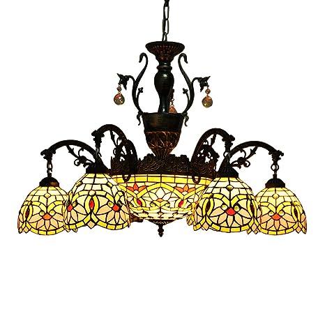 Makenier Vintage Tiffany - Lámpara de techo con 6 brazos de ...
