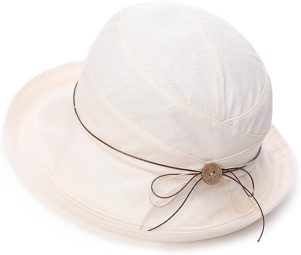 Siggi Femme Capeline Pliable Chapeau de Soleil N/œud Large Bord Visi/ère Et/é Plage Voyage UPF UV
