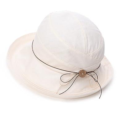 24534350d5d3d Siggi Womens UPF 50+ Cotton Linen Packable Bucket Sun Hats Wide Brim Sunhat  with Chin