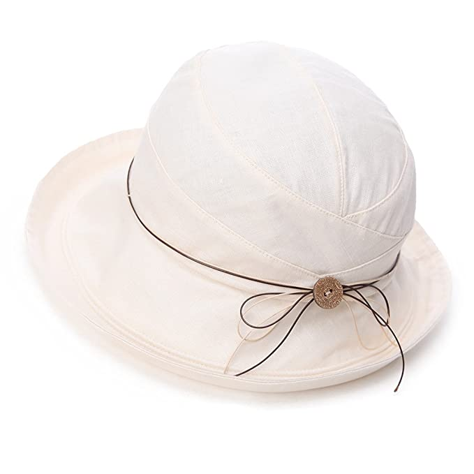 Siggi Womens UPF 50+ Cotton Linen Packable Bucket Sun Hats Wide Brim Sunhat with  Chin Cord Summer Beige  Amazon.in  Clothing   Accessories c6c2f4717599