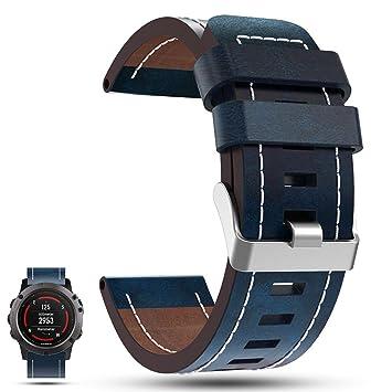iFeeker correa de reemplazo para reloj inteligente con GPS Garmin Fenix 5X, de piel auténtica, color azul: Amazon.es: Deportes y aire libre