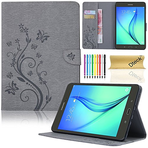 Galaxy Tab A 8.0 Case, SM-T350 Case, Dteck(TM) Slim Fit Protective Synthetic Leather Stand Case [Card Slot] Flip Wallet Pocket Cover with Magnetic Buckle for Samsung Galaxy Tab A 8.0(04 Gray) - Buckle Tab