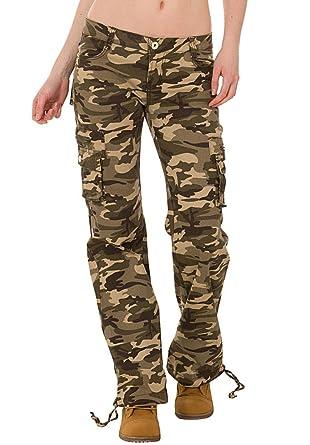 Pantalones Cargo Militares de Camuflaje para Mujer Jeans de Combate Anchos y Sueltos – Verde