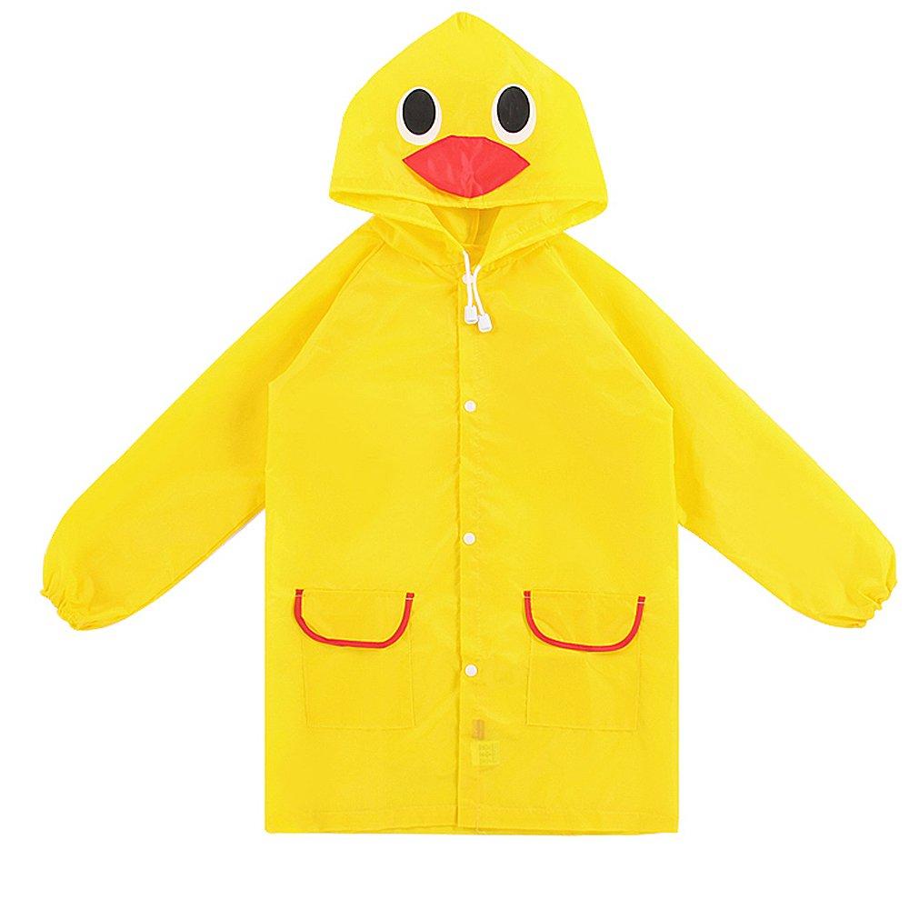Children Kids Cartoon Animal Pattern Rain Coat Waterproof Raincoat Yellow Duck Gosear
