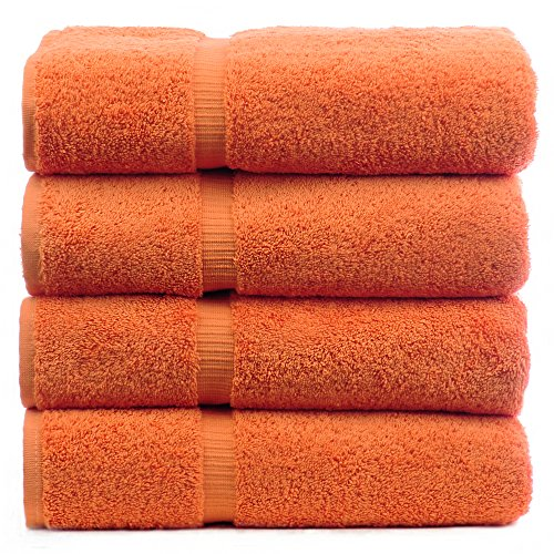 Luxury Hotel & Spa Bath Towel Turkish Cotton, Set of 4 (Coral) (Set Towel Bath Coral)