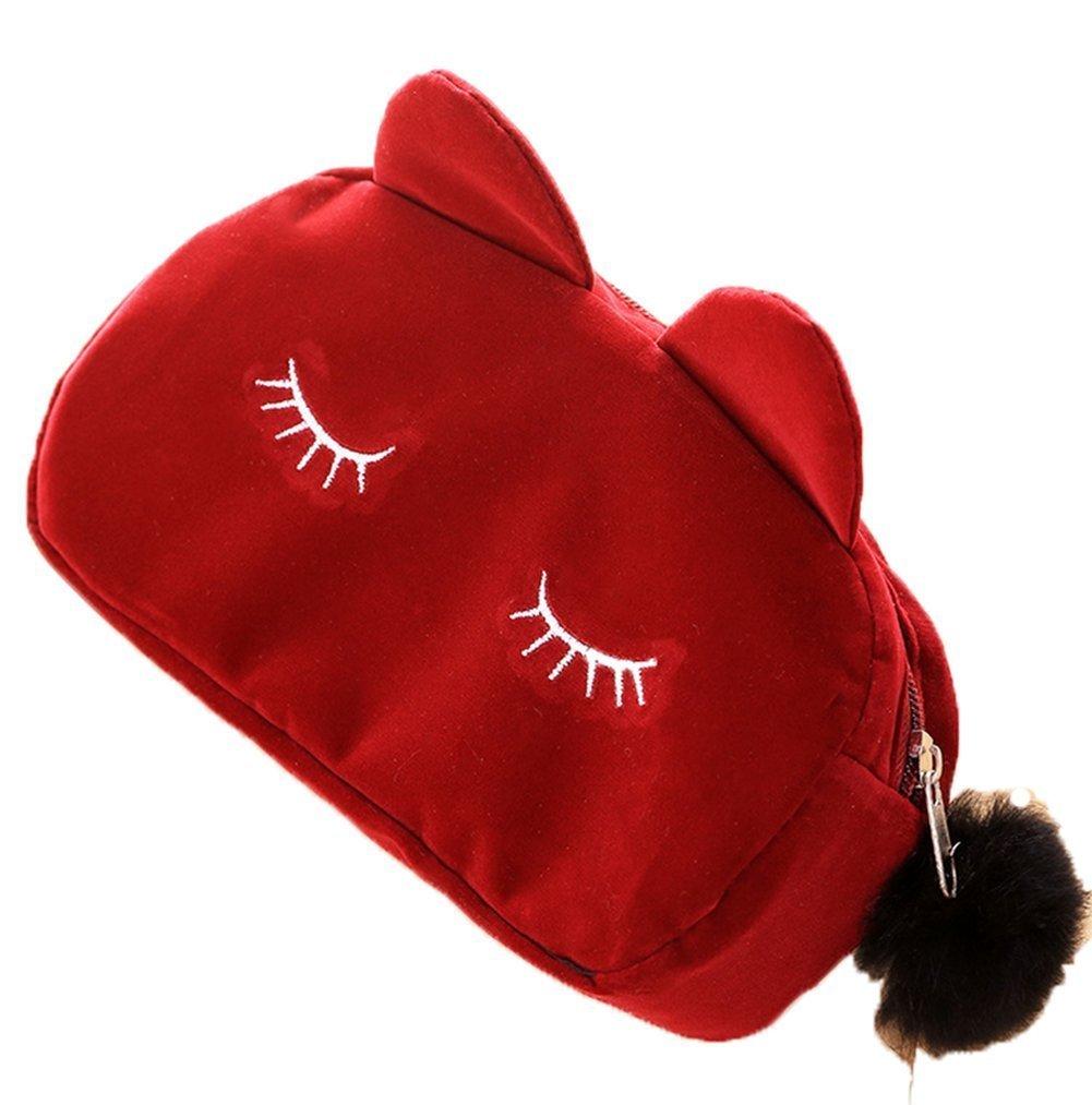Spaufu Sac à Maquillage Cosmétique Trousse de Toilette Voyage Sac à Main Portable en Coton Peluche Forme de Chat Mignon Organisateur Rangement pour Femme Fille Multicolore (Rose)