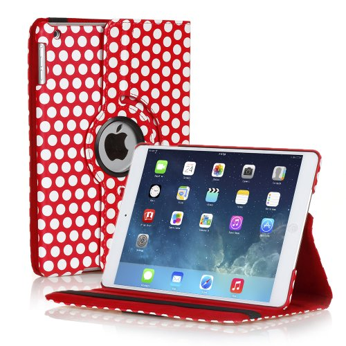TNP iPad Mini Rotating Case (Polka Dot Red) 360 Degree Stand Smart Cover Flip Protective PU Leather For iPad Mini 3, iPad Mini 2 & 1, Multi Viewing Angles, Auto - Online Tiffany Shop
