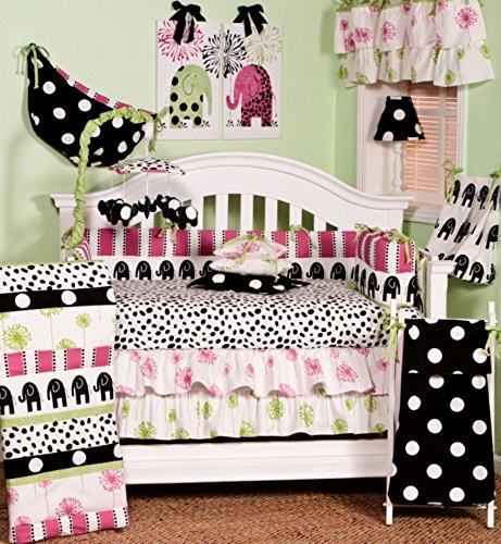 Cotton Tale Designs 100% Cotton Animal Zoo Jungle Elephant Multi Colorful Bright Pink, Green, Black & White Stripes & Spot/Dots Hottsie Dottsie 4 Piece Nursery Crib Bedding Set - Baby Shower Gift Girl (Cotton Tale Elephant)
