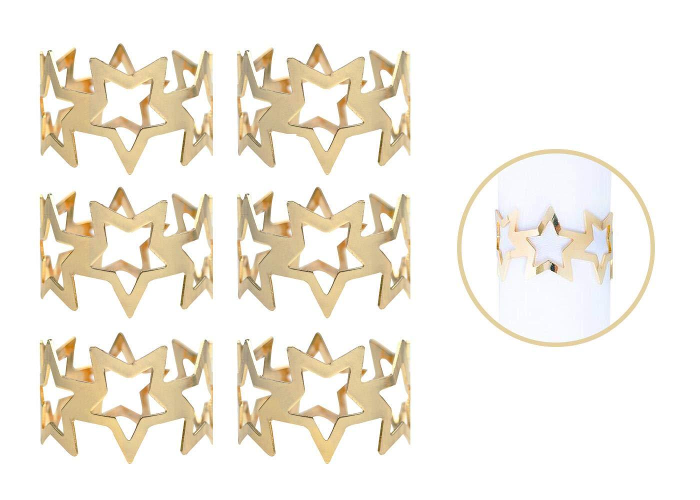 Y/öL 6 Napkin Rings Gold Star Metal Christmas Xmas Party Table Set Festive Round Napkin Holders Tableware