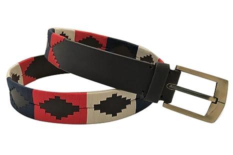 Cinturón de cuero hecho a mano Multi Color bordado Polo Argentina ...