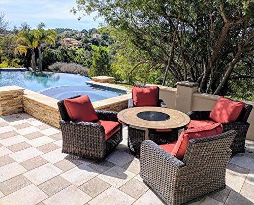 Kinger 5 Piece Round Propane Gas Fire Pit Table Chat Set, Includes 4 Thick Cushion Rattan Wicker Rocker Outdoor Patio Chairs, 50 Inch Porcelain Tile Top Propane Fire Pit Table Deck