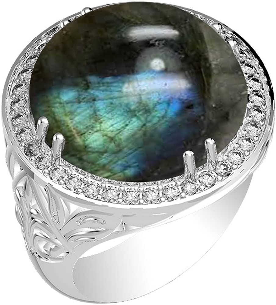 925 Sterling Silver Round Cut Labradorite Solitaire Stacking Ring RI2460