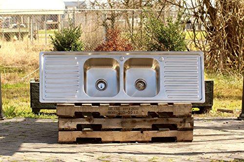 "304 Stainless Steel Vintage Inspired Farm Sink 60"" Stamped Metal Double Drainboard Basin Kitchen Sink Package"