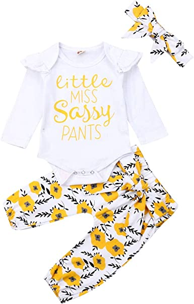 3pcs Newborn Kid Baby Girl Floral Clothes Jumpsuit Romper Bodysuit Pants Outfits