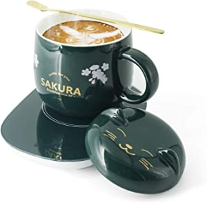 Coffee Mug Warmer for Desk, Cup Warmer,Cute Coffee Mugs Great Gift For Christmas,with Auto Shut off Coffee Warmer Plate Smart Mug Green