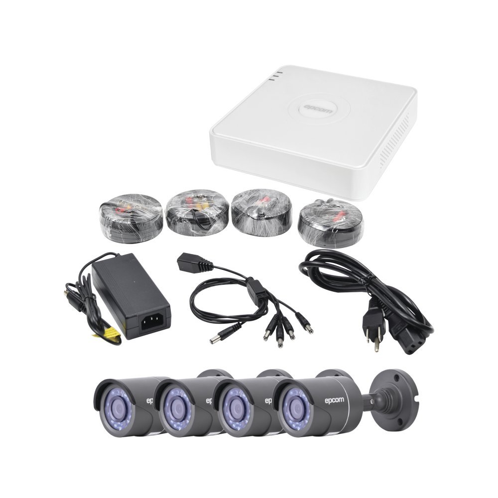 Amazon.com : Epcom powered by Hikvision All in One CCTV Kit, Includes 720p DVR (Cloud EZVIZ P2P Compatible), 4 Bullet Cameras, Power Supply, ...