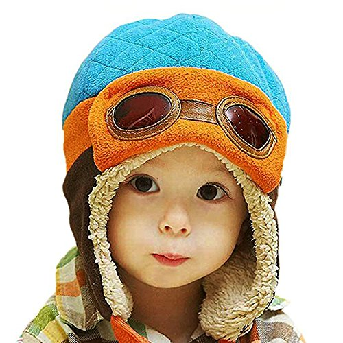 Baby Girls Boys Winter Pilot Hat Infant Toddler Kid Scarf Earflap Hood Scarves Warm Skull Beanie Caps 1-4 years old. (Red Skull Costume)