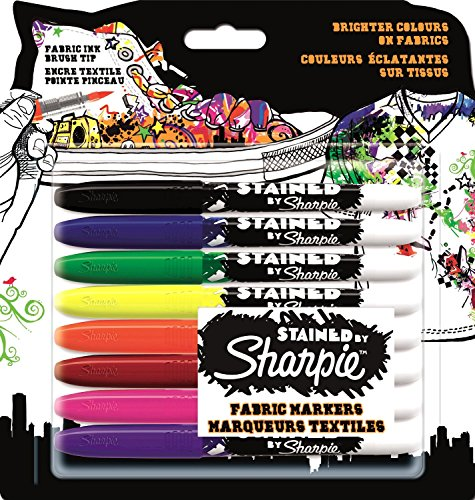 Sharpie Stained Fabric Marker, Assorted Colours, Pack of 8