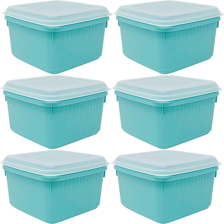 Codil 6×Recipientes de Almacenamiento,Envases Cocina,Contenedores Reutilizables,Fiambreras de Plástico,Cuadrado con Tapas Flexibles,para Congelar Almacenar y Mantener Alimentos Frescos,Verde,0.8L