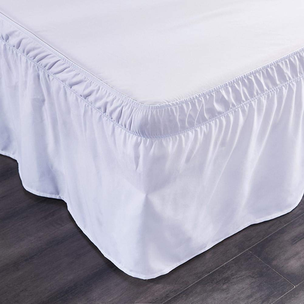 18 Inch Tailored Drop Elastic Dust Ruffled Bed Skirts A117 Ras Decor Linen Wrap Around Bed Skirt King//Cal-king Ivory-Three Sides covers of the bed Easy Fit
