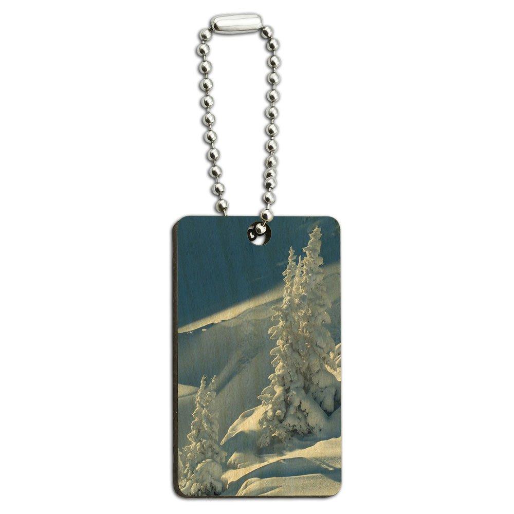 Snow Covered Mountain-Ski Snowboard Slope, aus Holz, rechteckiger Schlüsselanhänger