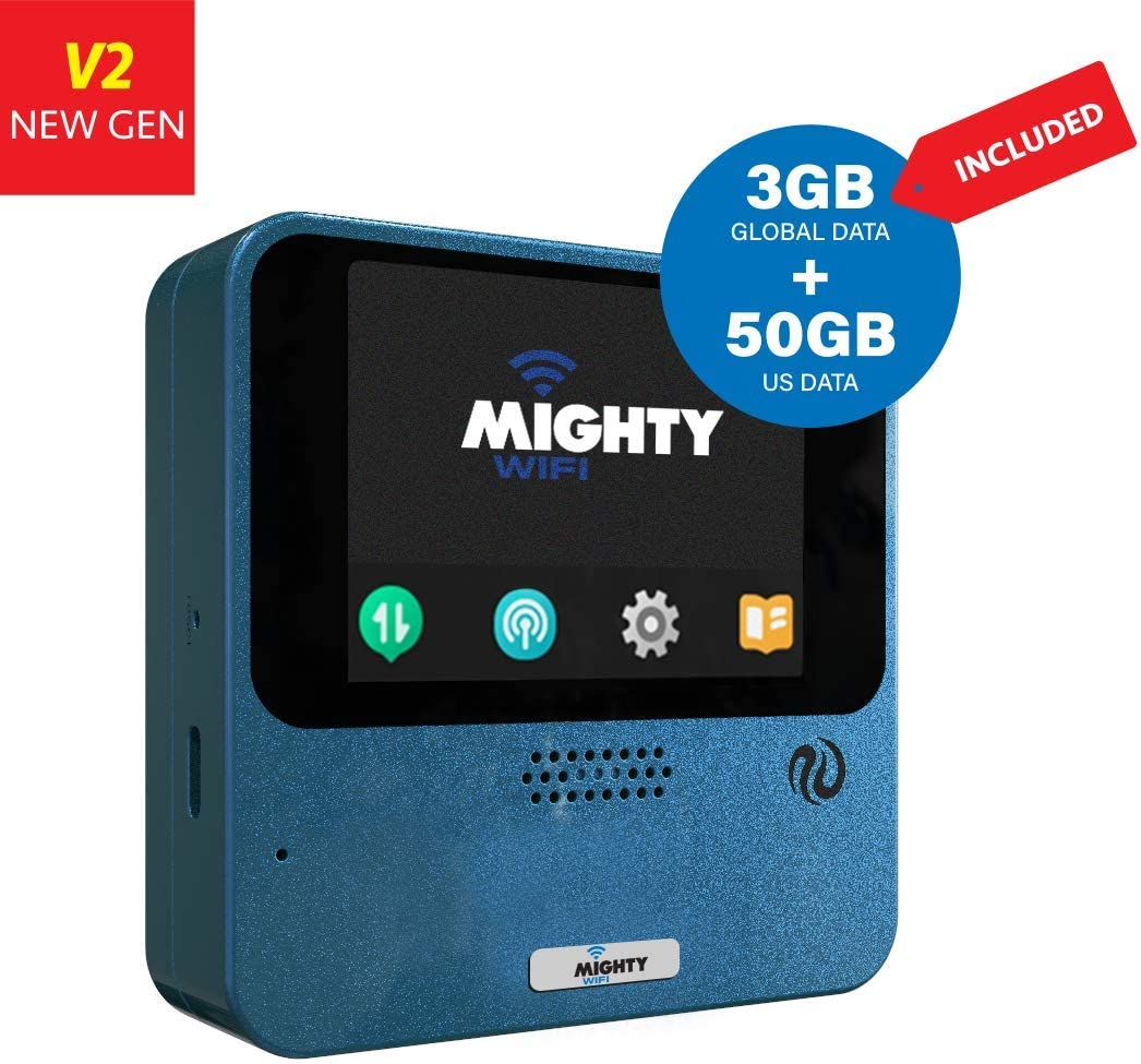 MightyWifi Cloud Worldwide high Speed Hotspot with US 50GB & Global 3GB Data for 30 Days, Pocket Mifi, Personal, Reliable, Wireless Internet, Router, No Sim Card, No Roaming, Home, Travel (Blue)