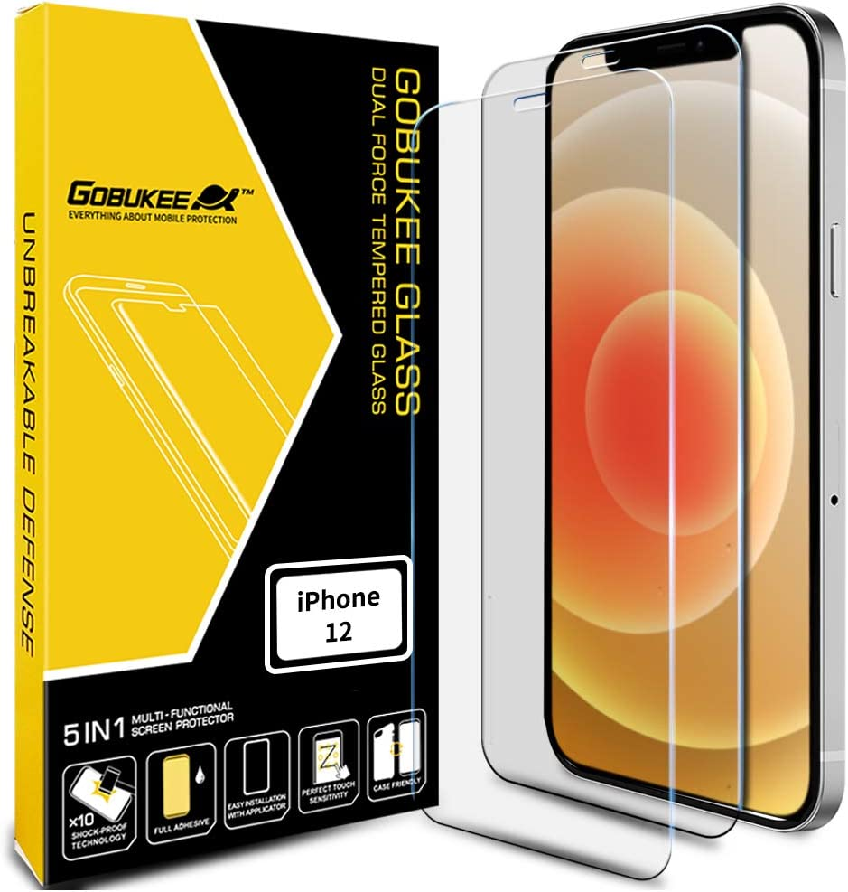 [2PACK] GOBUKEE Screen Protector for iPhone 12 /iPhone12 Pro (6.1 Inch) [Ultra Clear Tempered Glass] 9H Hardness Anti-Shock for iPhone12 / iPhone12Pro (A)