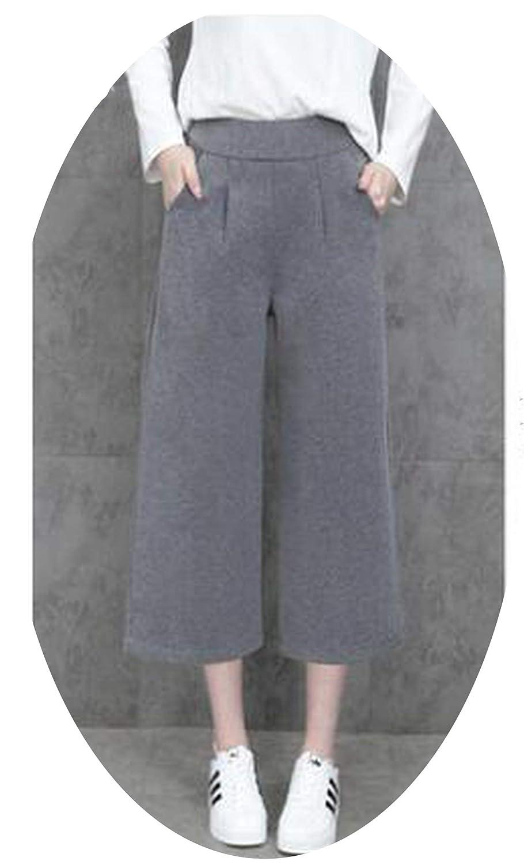 Light grey Autumn Winter Woolen Wide Leg Pants Fashion Loose high Waist Stretch Casual Seven Yards Pants