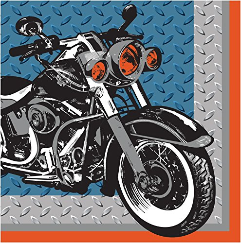 Creative Converting 16 Count 3 Ply Cycle Shop Lunch Napkins, Silver/Blue/Orange (Motorcycle Party Napkins)