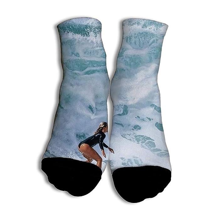 Calcetines Divertidos Women Surf In Big Waves para Hombres Mujer Impreso en 3D Calcetines de Colores de Moda con Buena Calidad para Chicos White: Amazon.es: ...