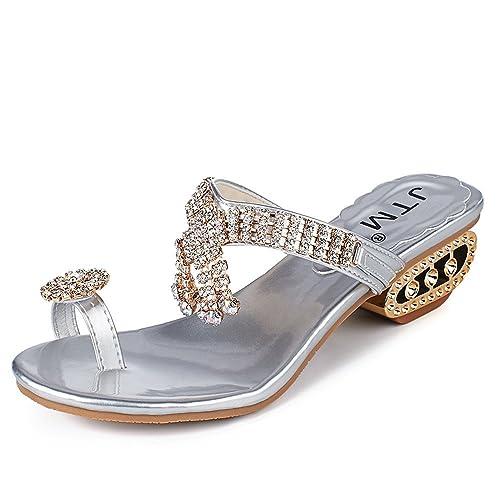 ebf80989 Damas de Verano Sandalias y Zapatillas de Moda con Forma de pedrería  Cuadrada con Zapatillas de tacón Sandalias de Moda Casual Plana: Amazon.es:  Zapatos y ...