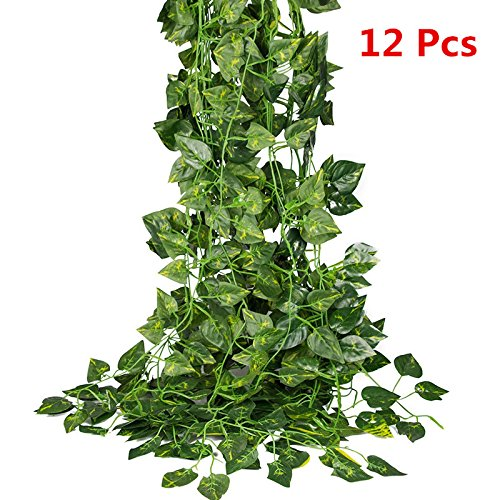 87 Ft Artificial Garland Vine,Hanging Plant Leaves Garland for Wedding Party Home Decor Indoor (Leaf Garland)