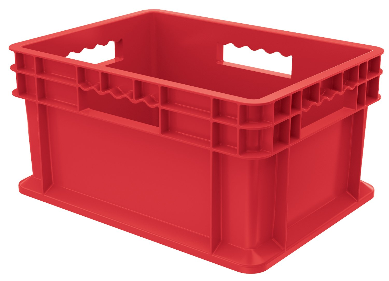 Akro-Mils 37288RED 16-Inch by 12-Inch by 8-Inch Straight Wall Container Plastic Tote with Solid Sides and Solid Base, Case of 12, Red