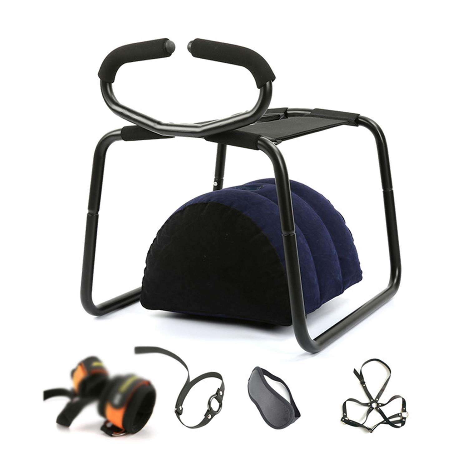 Sex Furniture Bounce Stool No Gravity G-Spot Love Sex Chair with Inflatable Pillow Handcuffs Breast Bar Mask Ring Gag