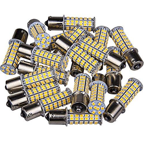 1141 1003 Interior Light Bulbs BA15S 1156 80 SMD Latest 2835 LED 1003 Turn Signal Backup Reverse (20-packs, Warm White)