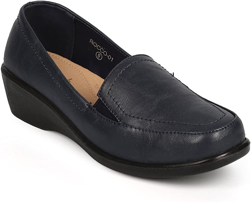 New Women Refresh Dido-02 Leatherette Round Toe Elastic Wedge Loafer Clog Size