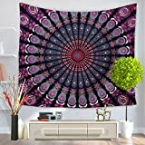 ChezMax Mandala Hippie Bohemia Square Polyester Tapestry Multi Purpose Decorative Wall Hanging Mural Art Purple Flower Pattern 79'' X 59''