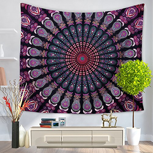 ChezMax Mandala Hippie Bohemia Square Polyester Tapestry Multi Purpose Decorative Wall Hanging Mural Art Purple Flower Pattern 79
